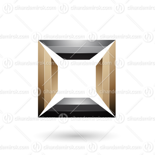 Blue and Beige Glossy Square Frame Vector Illustration