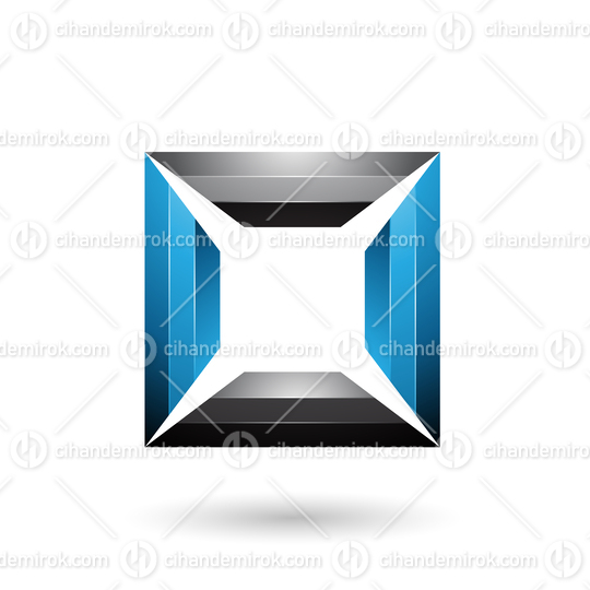 Blue and Black Glossy Square Frame Vector Illustration