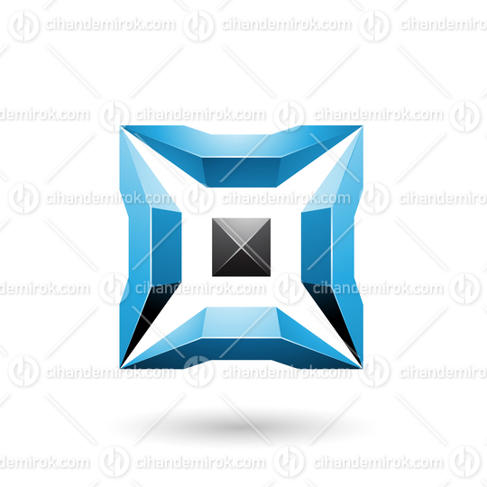 Blue and Black Square with 3d Glossy Pieces Vector Illustration