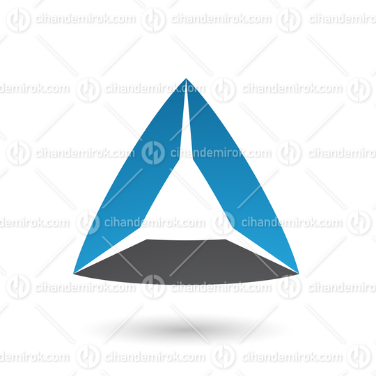 Blue and Black Triangle with Bowed Edges Vector Illustration