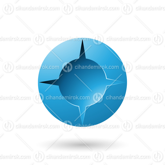 Blue and Bold Shaded Round Icon Vector Illustration