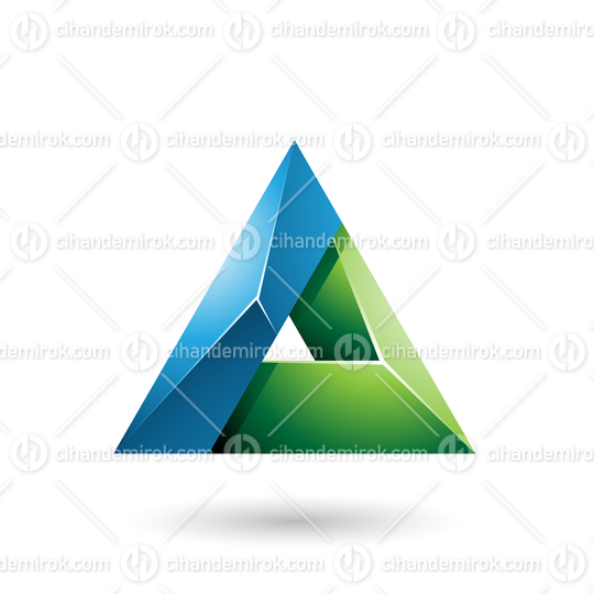 Blue and Green 3d Glossy Triangle with a Hole Vector Illustration