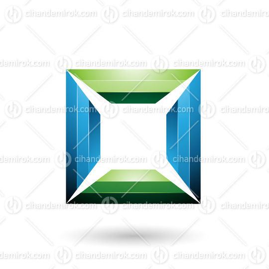 Blue and Green Glossy Square Frame Vector Illustration