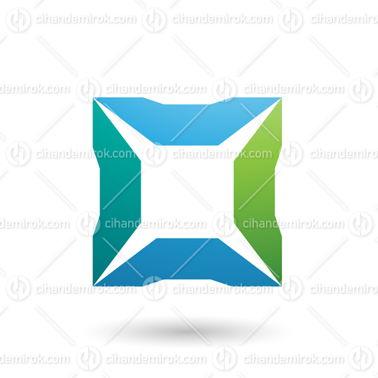 Blue and Green Square with Spikes Vector Illustration