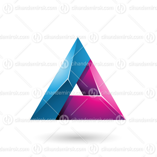 Blue and Magenta 3d Glossy Triangle with a Hole
