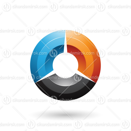 Blue and Orange Glossy Shaded Circle Vector Illustration