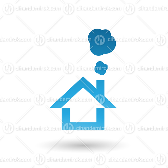 Blue House and Smoke Icon Vector Illustration