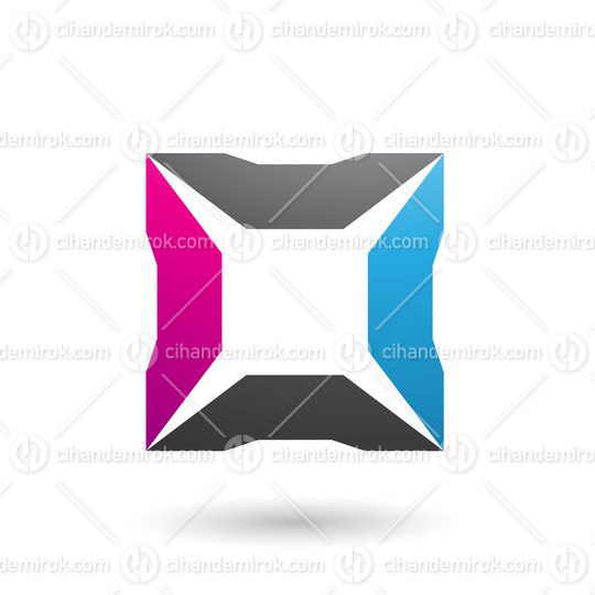 Blue Magenta and Black Square with Spikes Vector Illustration