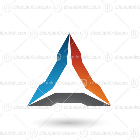 Blue Orange and Black Spiked Triangle Vector Illustration