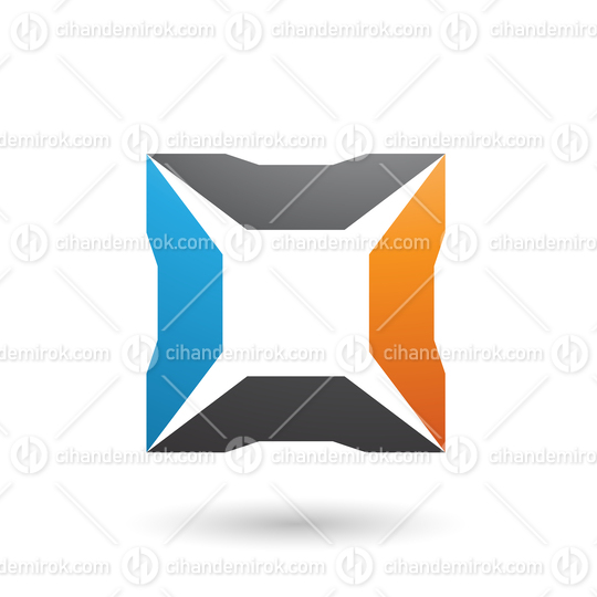 Blue Orange and Black Square with Spikes Vector Illustration