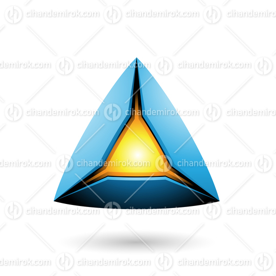 Blue Pyramid with a Glowing Core Vector Illustration