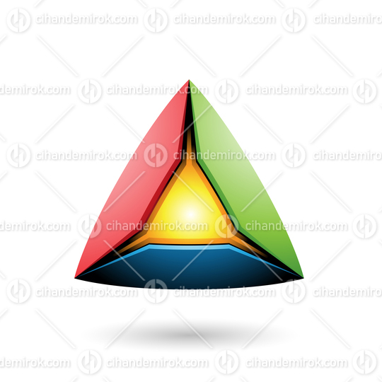 Blue Red and Green Pyramid with a Glowing Core