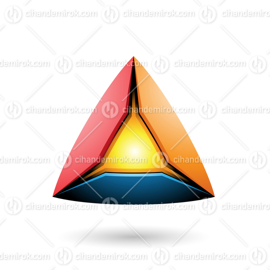 Blue Red and Orange Pyramid with a Glowing Core