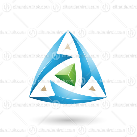 Blue Triangle with Arrows Vector Illustration