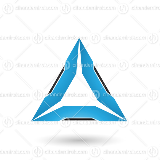 Blue Triangle with Black Edges Vector Illustration