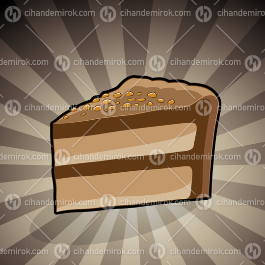 Cake Illustration on a Brown Striped Background