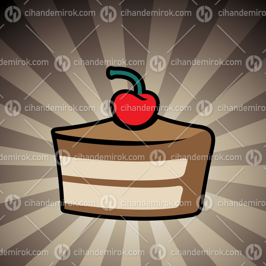 Colorful Cake Icon on a Brown Striped Background