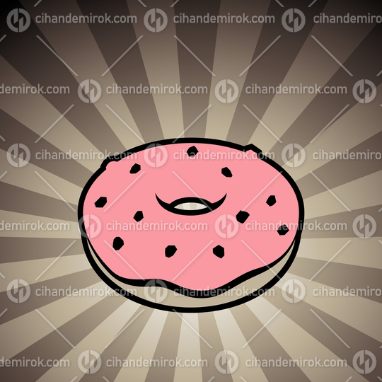 Doughnut Icon on a Brown Striped Background