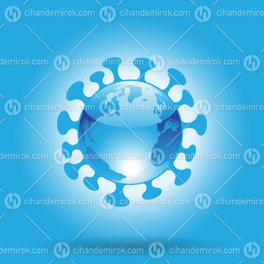 Globe Shaped Blue Glossy Coronavirus Icon on a Blue Background