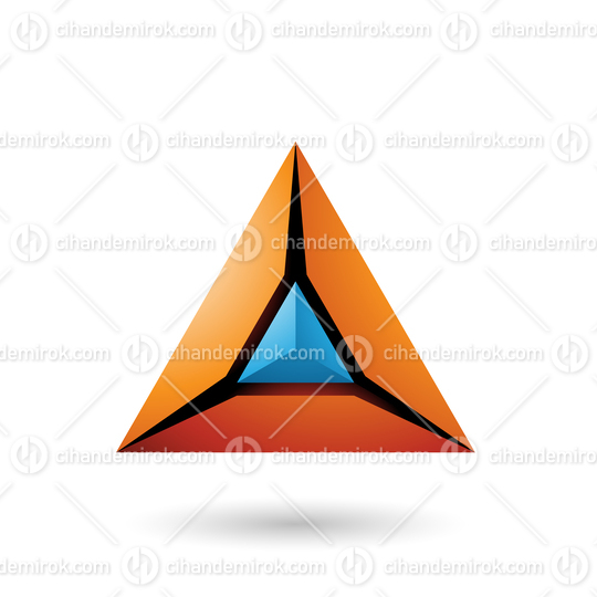 Orange and Blue 3d Pyramid Icon Vector Illustration