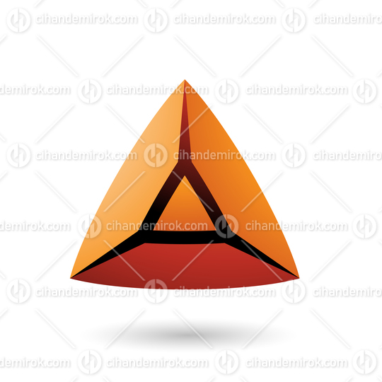 Orange and Bold 3d Pyramid Vector Illustration