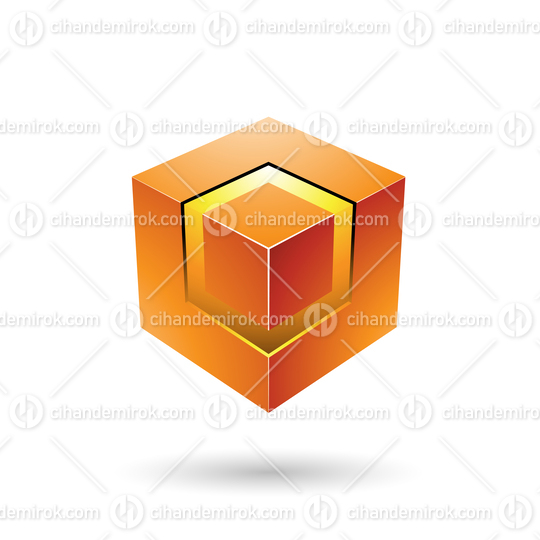 Orange Bold Cube with Glowing Core Vector Illustration