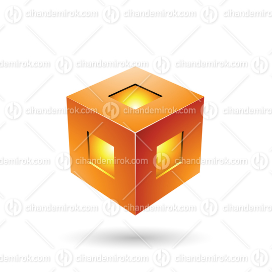 Orange Bold Lantern Cube Vector Illustration