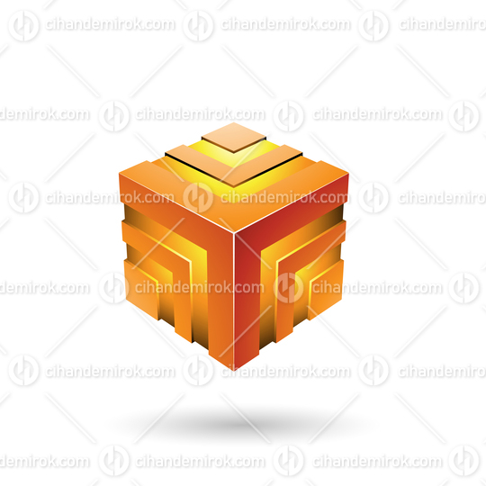 Orange Bold Striped Cube Vector Illustration