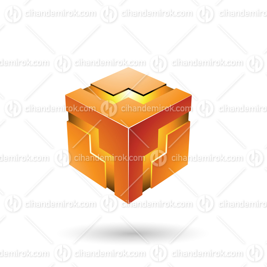 Orange Bold Zigzag Cube Vector Illustration