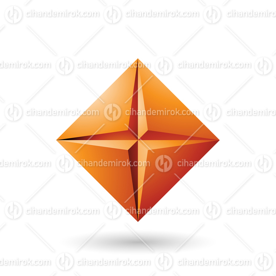 Orange Diamond Icon with a Star Shape Vector Illustration
