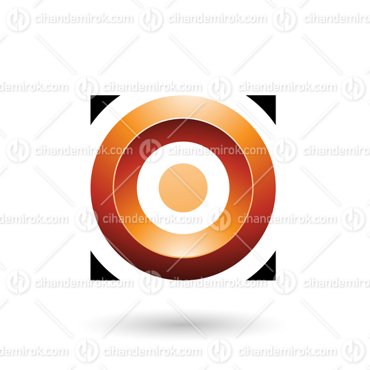 Orange Glossy Circle in a Square Vector Illustration