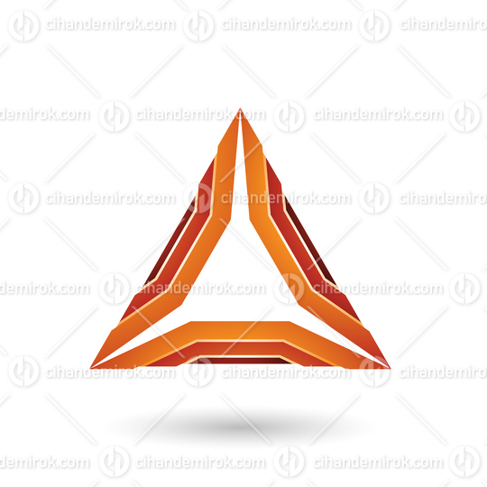 Orange Glossy Mechanic Triangle Vector Illustration