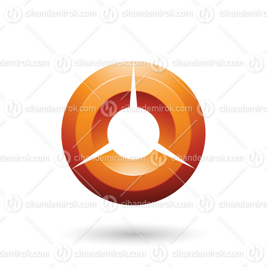 Orange Glossy Shaded Circle Vector Illustration