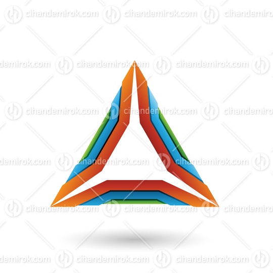 Orange Green and Blue Mechanic Triangle Vector Illustration