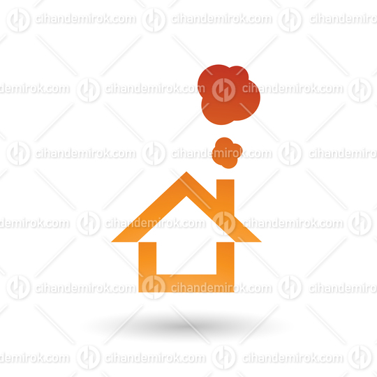 Orange House and Smoke Icon Vector Illustration