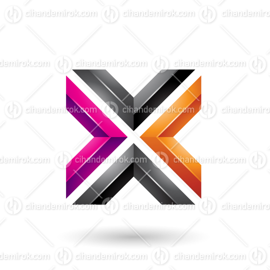 Orange Magenta and Black Square Shaped Letter X Vector Illustration