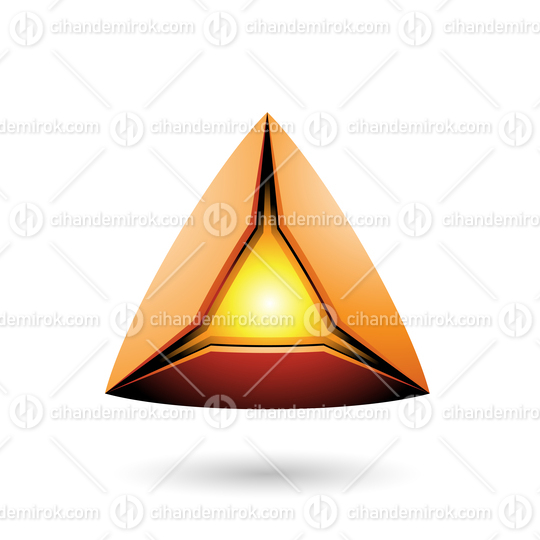 Orange Pyramid with a Glowing Core Vector Illustration