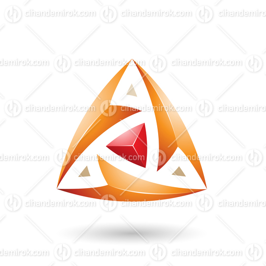 Orange Triangle with Arrows Vector Illustration