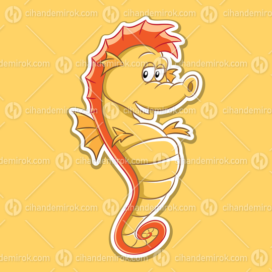 Sticker of Seahorse Cartoon on a Yellow Background